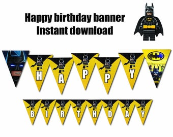 Lego Batman movie  banner Printable  - DIGITAL file (Non personalized)  Birthday party Printable - INSTANT DOWNLOAD