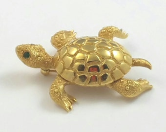 Turtle Gold Metal Brooch Pin Signed Monet