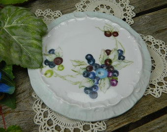 Vintage Hand Painted Porcelain China Trivet - Tea Trivet - Berries