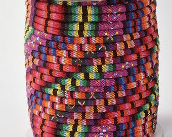 2Meter  Tribal fabric cord, Rope Cloth,  Ethnic Cords, Embroidered Tribal Pattern, Multicolor  4mm