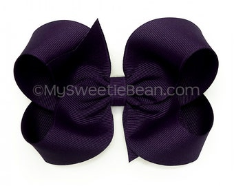 "Deep Purple Hair Bow,  Midnight Purple Boutique Bow, 4 inch Grosgrain Bow, No Slip 4"" Hair Bow for Girls, Baby, Toddler, Russian Violet Bow"