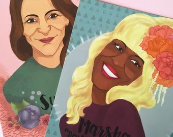 Postcards of Queer/ LGBTQI+ activist's Marsha Johnson and Sylvia Rivera (set of 2)
