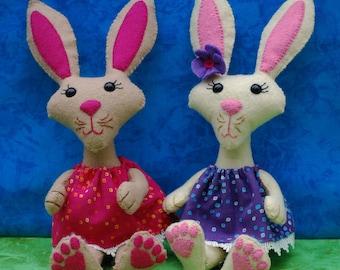 Easter Felt Doll Pattern -Bunnies -Easter decoration, ornament, rabbit doll, Easter gift