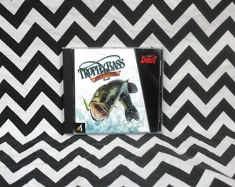 Vintage Trophy Bass Deluxe PC Game. 1998 CD Rom Computer Video Game.Windows 95 98 Era Bass Fishing Video Game.Fisherman Gamer CD Rom Pc Game