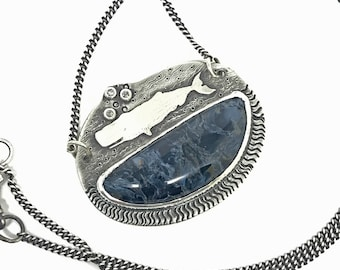 Blue Pietersite Whale Necklace with Diamonds, Ocean Theme Necklace, Sterling Silver, Chatoyant blue Gemstone, Made in NH, Art Jewelry