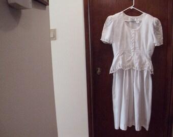 Vintage Kathie Lee Dress, Size 14 dress,  White Dress, Easter Dress, Lace Dress, Special Occasion Dress, Wedding Dress, Party Dress
