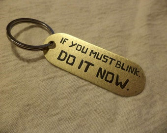 Kubo etched brass keychain