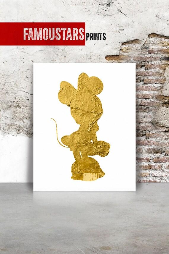 Minnie art print Minnie poster in faux gold Disney print