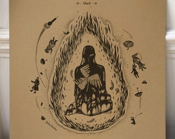 Neutral Milk Hotel - Ghost /// Song-inspired illustration /// Square print