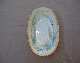 T&V Tressemann and Vogt France Hand Painted Oval Bowl Blue Flowers Gold Trim