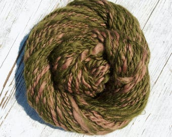 Handspun Merino 2-Ply Aran in Olive Green and Taupe