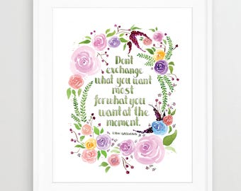 Floral Wreath WATERCOLOR ART, QUOTE, Watercolor Print, Flowers, Inspirational Quote, Mantra, Bohemian, Boho, Motivational Quote
