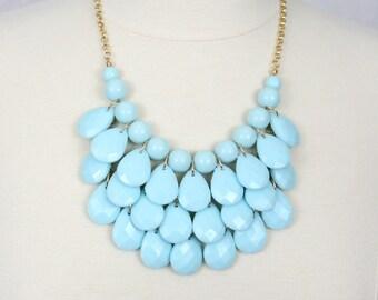 Statement Necklace Teardrop Necklace Multi Layered Necklace Chunky Necklace Sky Blue