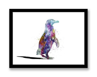 penguin printable instant download, printable download, blue, purple, abstract painting, fine art print, 8X12 print, penguin lover gift