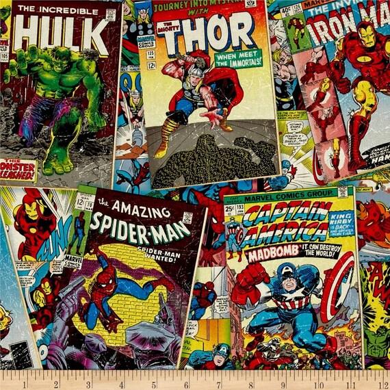 Marvel Superhero Avengers Comic Covers Thor Hulk Captain America Iron Man Spider Cotton Fabric Per Fat Quarter Metre From LovelyJubblyFabrics On