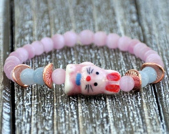 Pink Ceramic Bunny Beaded Bracelet , Rabbit Bracelet, Easter Bunny