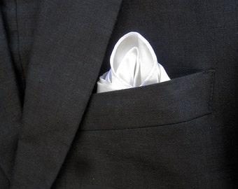 White Pocket Square - Mens Silk Handkerchief - White Silk Pocket Square - Pocket Handkerchief  - MADE TO ORDER