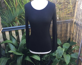 Black merino wool long sleeved top size small