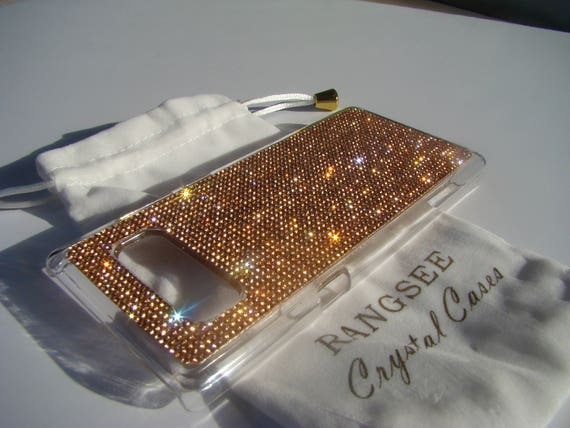 Galaxy Note 8 Case Rose Gold Crystals on Clear Transparent Case. Velvet/Silk Pouch Bag Included, Genuine Rangsee Crystal Cases.