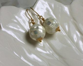 Earrings Beaded Mosaic Mother of Pearl White Gold Drop Earrings Dangle Jewelry Fashion Jewellery Modern