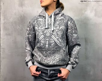 Samurai and dragon grey womens hoodie graphic cotton hoodie with samurai mask lotus flowers japanese dragon original gift idea gift for her