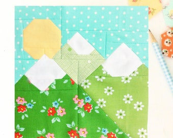 Mountain Majesties PDF quilt block pattern - Includes instructions for 6 inch and 12 inch Finished Blocks
