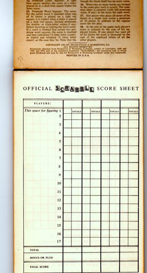 Vintage  Official Scrabble Score Pad Latest Official Scrabble