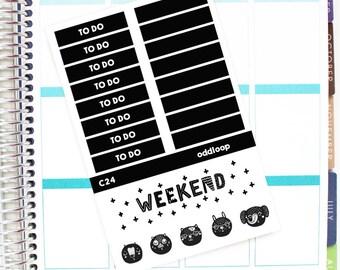 Salt & Pepper Headers and Weekend Banner Planner Stickers - For use with Erin Condren Vertical Lifeplanner // C24
