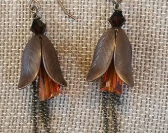 Fire Down Under Brass Leaf Earrings