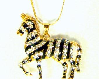 Rhinestone ZEBRA Pendant on Chain, Glamorous Flashy White Glass Sparkling Stones, Black Enamel, Gold Tone Chain, African Animal, Tail Moves