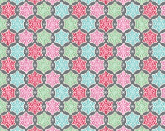 Christmas Snowflakes, Vintage Noel from Blend Fabrics - Half Yard Frosted Grey - Red, Green, Blue Snowflakes on Grey