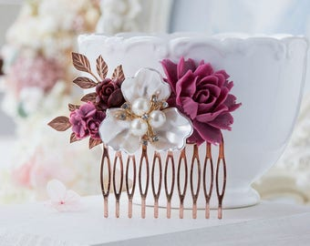 Plum Burgundy Wedding Rose Gold Bridal Hair Comb White Pearl Crystal Rhinestones Leaf Comb Bridesmaid Gift Bridal Hair Piece Vintage Wedding