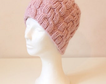 Hand knit pink cable hat in alpaca wool