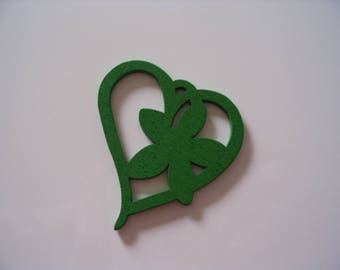 Dark green wood heart charm