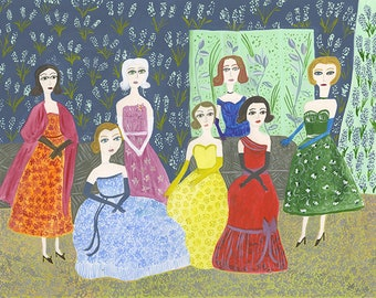 Held rigid to the pattern by the stiffness of their gowns. Original painting by Vivienne Strauss.