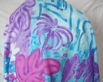 Blue  Floral Scarf Vintage   Women's Square Neck Scarf Square  Scarf Gift Silk Scarf Vintage Scarf