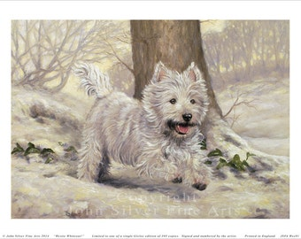 West Highland Terrier Limited Edition Print, Westie Whiteout.  Signed and numbered by Award Winning Artist JOHN SILVER. JSFA91