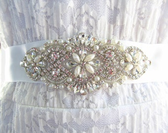 SQA-11 / Rhinestone and Pearl Bridal Ribbon Sash / Bridal Sash / Bridal / Pearl  / Embellished Sash / Wedding Belt / Bridal Belt