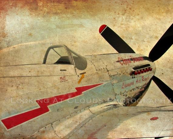 P51 airplane art aviation art photo P-51 Mustang vintage