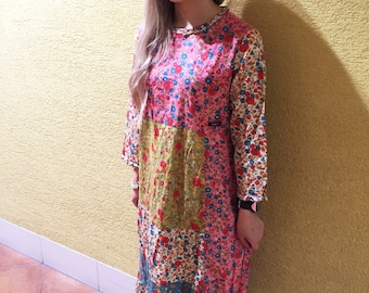 Vintage Floral Dress Retro Hippie Dress