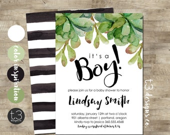 Boy Baby Shower Invitation, modern baby shower invite, baby shower, succulents baby shower, watercolor, baby shower invitation template, T7