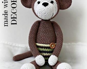 Brown monkey plush handmade crocheted.
