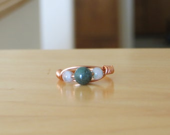 Triple Beaded Copper Wire Wrapped Ring