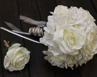 White Bridal Bouquet, White Wedding Bouquet, Bridal Bouquet White, White, Rustic White Bouquet, Rustic, White Roses, White Bouquet, rose