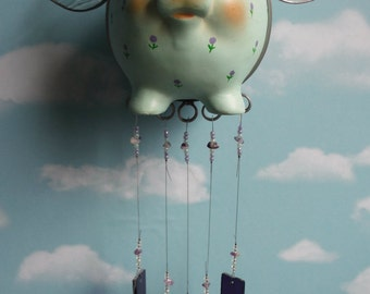 When Pigs Fly up cycled Piggy Bank with Purple Stained Glass Chimes