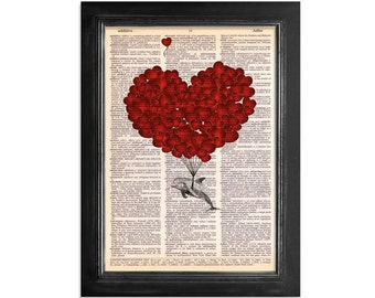 Escape of The Dolphin with Love Balloons - Printed on Beautifully Upcycled Vintage Dictionary Paper - 8x10.5