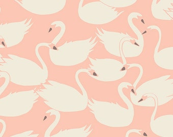 KNIT, Swanlings Bevy Peach, Organic, Hello Ollie Collection, Bonnie Christine, Art Gallery Fabrics, Stretchy Fabric