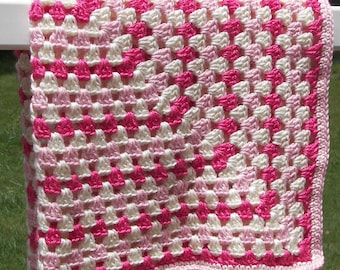 Baby Girl Gift - Pink and Cream Baby Blanket - Square Crochet Blanket - Ready to Ship - Multicolor - Soft Yarn - Baby Shower Gift