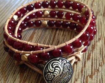 Beaded wrap bracelet, leather wrap bracelet, red beaded wrap bracelet