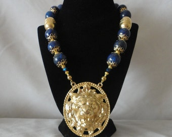 Roman Inspired Lapis King Of The Beast Lion Pendant Necklace********.